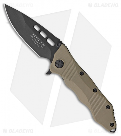"Guardian Tactical Helix Combat Folder Knife Tan G-10 (3.75"" Black)"