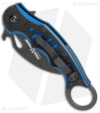"Fox Knives Karambit Folder Liner Lock Knife Black/Blue G-10 (2.75"" Black) 479BB"