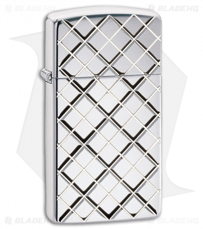 Zippo Lighter Argyle Slim (Brushed Chrome) 11599