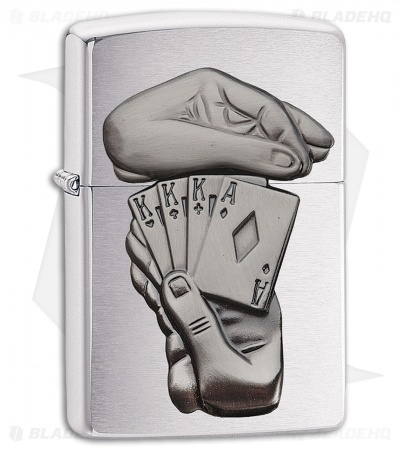 Zippo Lighter BS Full House Emblem (Brushed Chrome) 11984