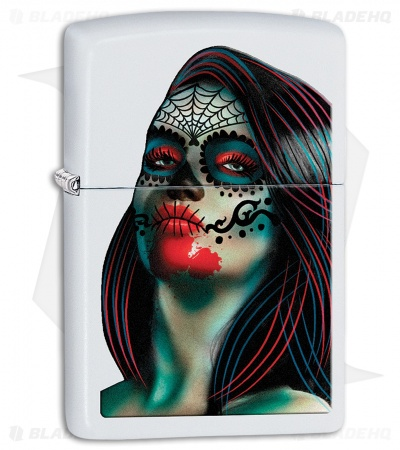 Zippo Lighter Day of the Dead Lady Tattoo (White Matte) 11994