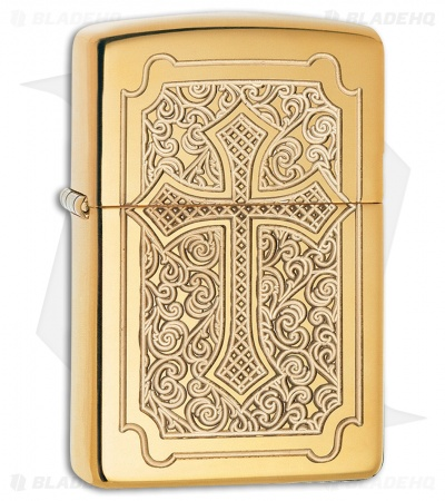 Zippo Lighter Eccentric Cross (High Polish Brass) 12332