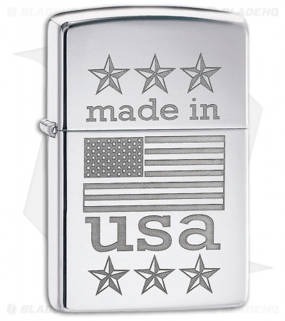 Zippo Lighter Made in USA w/ Flag (High Polished Chrome) 12325