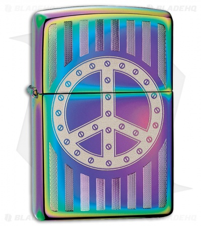 Zippo Lighter Rivet Peace Sign (Spectrum) 12330
