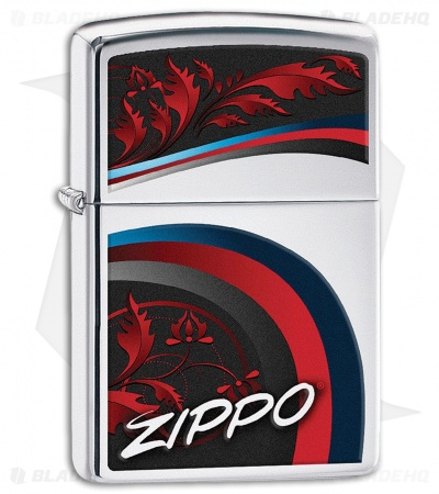 Zippo Lighter Satin and Ribbons (High Polish Chrome) 12298