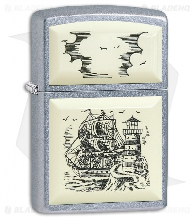 Zippo Lighter Scrimshaw Ship (Brushed Chrome) 11985