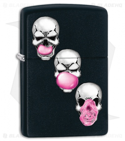 Zippo Lighter Skull Bubble Gum (Black Matte) 11986