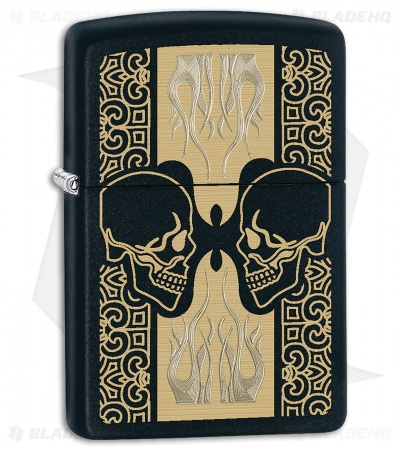 Zippo Lighter Skulls And Flames (Black Matte) 12282