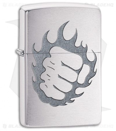 Zippo Lighter Tattoo Fire and Fist (Brushed Chrome) 12322