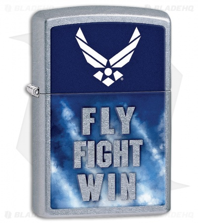 Zippo Lighter US Air Force Fly Fight Win (Street Chrome) 11895