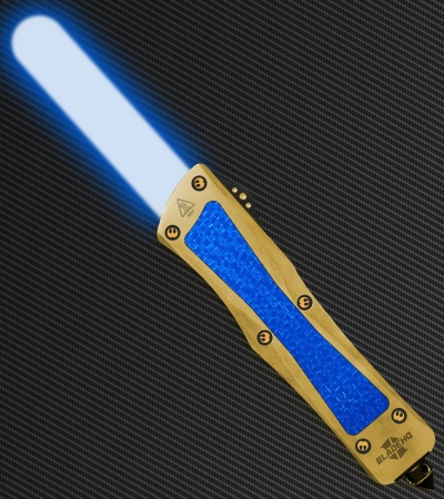 Custom OTF Pocket Lightsaber Knife - Gold Plated Platinum (Adegan Crystal)