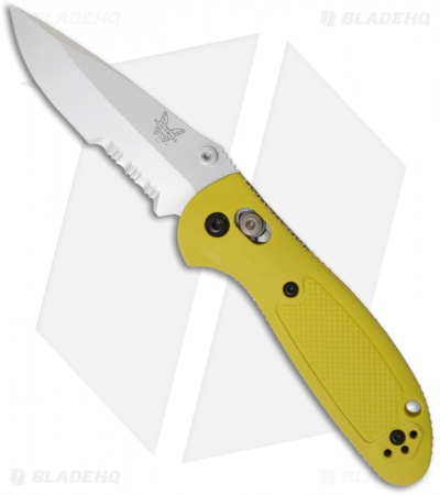 "Benchmade Mini Griptilian AXIS Lock Knife Yellow (2.91"" Satin Serr) 556S-YEL"