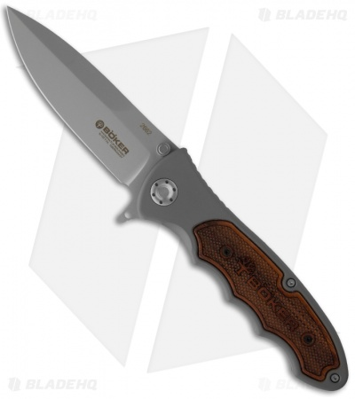 "Boker Turbine Pocket Knife w/ Rosewood (3.875"" Bead Blast Plain) 110130"