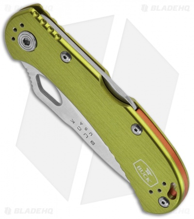 "Buck SpitFire Green Folding Knife (3.25"" Satin Serr) 0722GRX1"