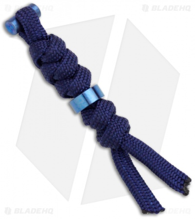Chris Reeve Knives Large Cord Tie Midnight Lanyard w/ Blue Bead