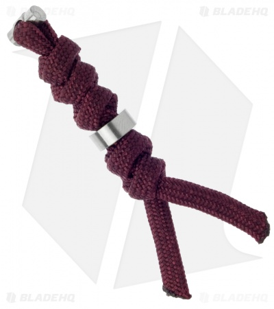 Chris Reeve Knives Small Burgundy Cord Tie Lanyard w/ Silver Bead