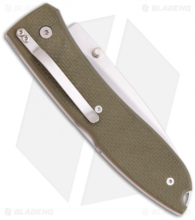 "LionSteel Big Opera Green G10 Folding Knife (3.5"" Satin) Italy 8810 GN"