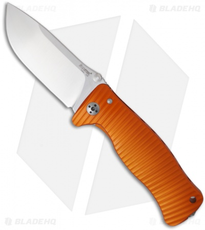 "LionSteel SR1-Al Orange Aluminum Folding Knife (3.7"" Satin Plain)"