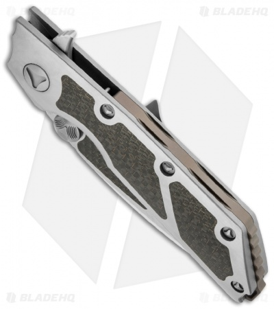 "Marfione Custom DOC Flipper Knife Titanium w/ Lightning Strike CF (3.75"" Satin)"