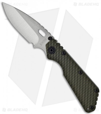 "Strider Knives 3/4 SMF GG Knife Green G10 Gunner Grip (3.9"" Stonewash Plain)"