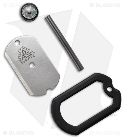 A.R.S. Dog Tag Survival Knife w/ Compass, Firestarter & Mirror (Black)