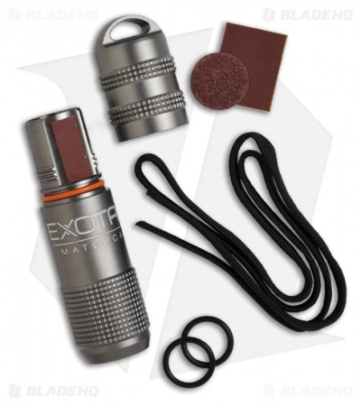 Exotac MATCHCAP Survival Matchcase & Striker Waterproof Fire Starter (Gunmetal)