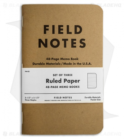 Field Notes Memo Ruled 3-Pack - Original Cover - (Brown) FN-02