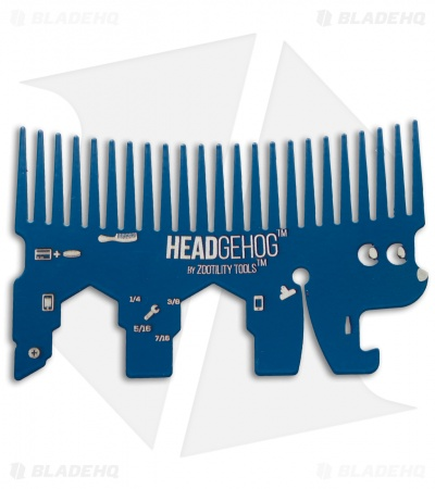 Headgehog Wallet Comb Stainless Steel Multi-Tool (Blue) HH2