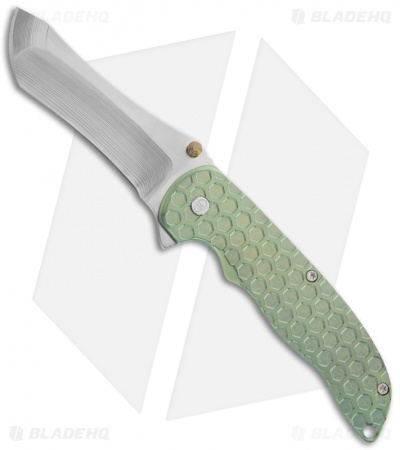 "John Grimsmo The Norseman Flipper Green Titanium Knife (3.625"" Plain) 108"