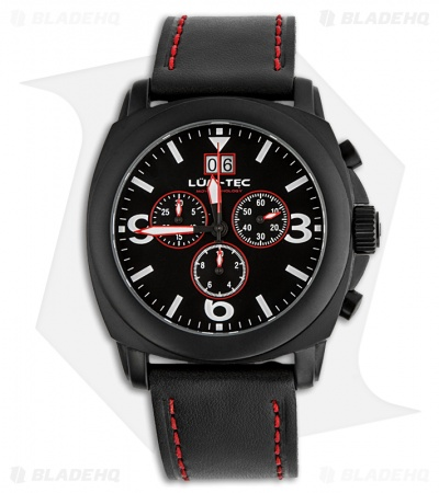 Lum-Tec M48 MVD Luminous Men's Chronograph Watch w/ PVD Coating (Red)