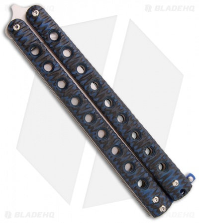 "McAhron Custom Balisong Blue/Black G-10 Clip Point Butterfly Knife (4.38"" Satin)"
