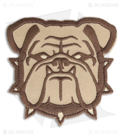 MSM Large Bulldog Head Hook Velcro Back Patch (Desert)