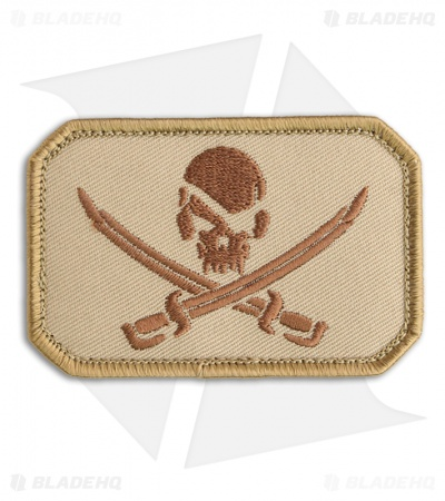 MSM Pirate Skull Flag Patch Hook Velcro Back (Desert)