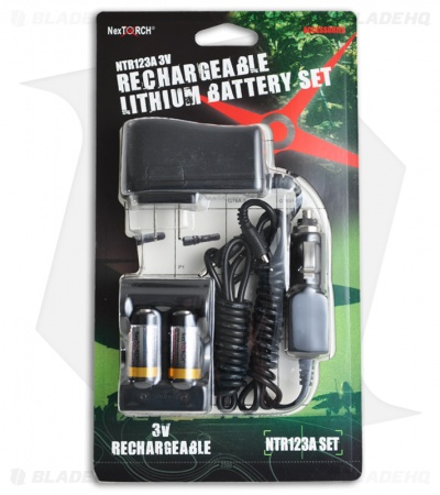 NexTORCH CR123A 3V Rechargeable Lithium Battery Charger Set NTR123A