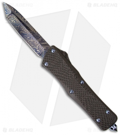 Rare Marfione Custom Solid Carbon Fiber Combat Troodon Knife (Blued Damascus)