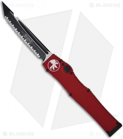 "Microtech Red Halo 5 V OTF Automatic Tanto Knife (4.6"" Black Full Serr) 150-3RD"