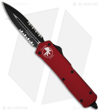 Microtech Scarab Executive Red OTF D/E Dagger Knife (Two-Tone SER) 109-2RD