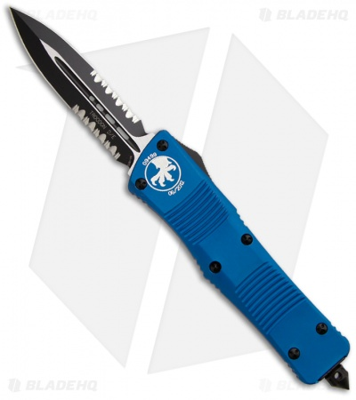 "Microtech Blue Troodon D/E OTF Automatic Knife (3"" Black Serr) 138-2BL"