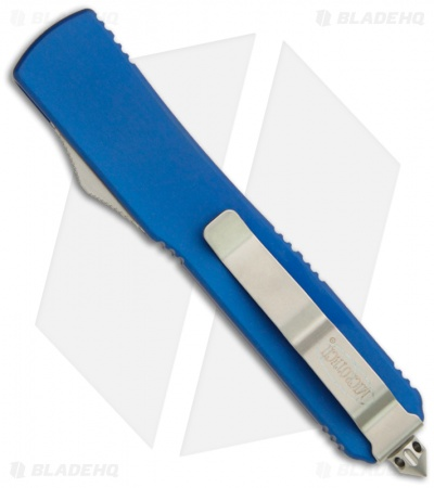 "Microtech Ultratech Blue OTF D/E Automatic Knife (3.4"" Beadblast Plain) 122-7BL"
