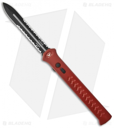 "Asheville Steel Paragon Estiletto OTF Automatic Knife Red (5.25"" Black 2x Serr)"