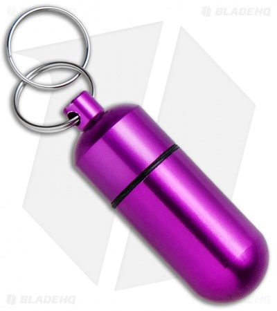 KeyGear Pill Box Aluminum Key Chain Capsule (Purple)
