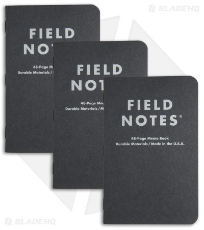Field Notes Pitch Black MEMO Dot Graph 3-Pack (Pitch Black) FN-33