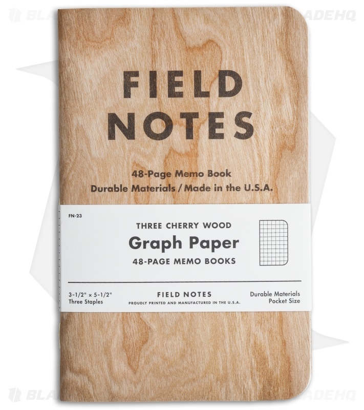 Field Notes Cherry Wood Graph Paper 48-Page Memo Books (Set Of 3