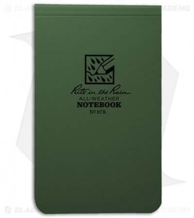 "Rite In The Rain Top Bound Memo 3.25"" x 5.25"" All-Weather Notebook (Green) #978"