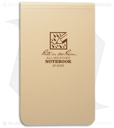 "Rite In The Rain Top Bound Memo 3.25"" x 5.25"" Notebook (Tan) #978T"