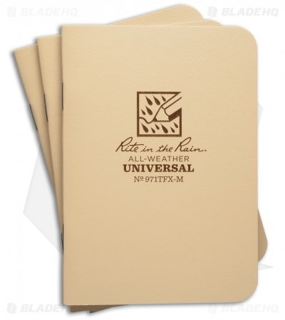 "Rite In The Rain Mini Stapled 3.25"" x 4.5"" Notebook 3-Pack (Tan) #971TFX-M"