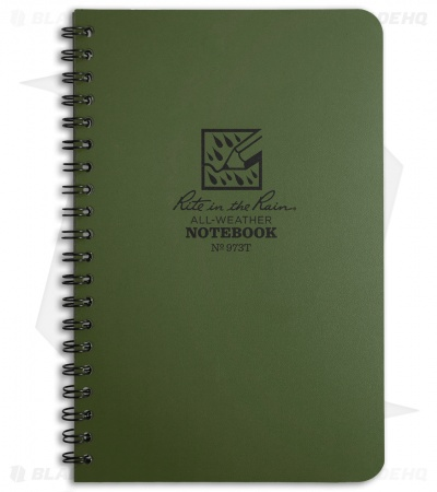 "Rite In The Rain Side Spiral 4.5"" x 7"" Notebook (Green) #973"
