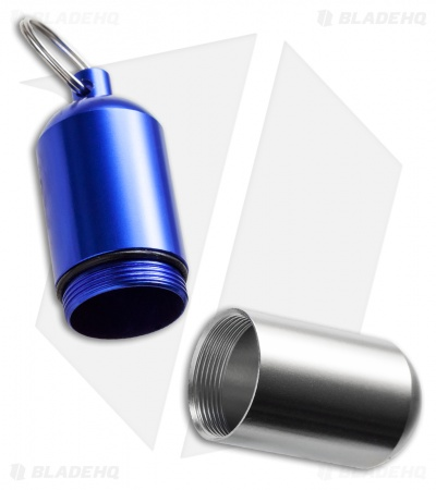 Tallen Large Machined Aluminum Waterproof Storage Capsule (Blue/Silver)