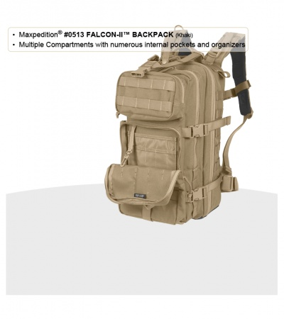 Maxpedition Falcon II Khaki Assault Backpack Hydration 0513K