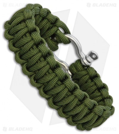 "Combat Ready Survival Bracelet Large 9"" OD Green Paracord w/ Metal Buckle"